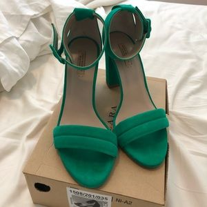 Zara Green Heels with Buckle Strap